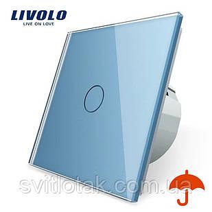 Сенсорный выключатель Livolo для улицы с защитой от брызг IP44 голубой стекло (VL-C701IP-19)