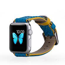 Ремешок MOMAX Genuine Кожа для Apple Watch 38mm голубой