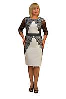 "Платье ""Лара"" дл.рукав  —  Модель 1203-2 (замена кружева на т.синее)"