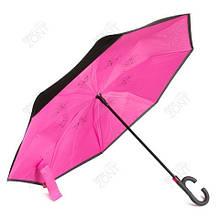 Зонтик одноцветный umbrella зонт наоборот  РОЗОВЫЙ