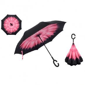 Зонтик umbrella зонт наоборот ЦВЕТОК СВЕТЛО РОЗОВЫЙ, фото 2