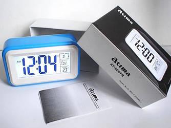 Часы настольные с подсветкой и датчиком звука на батарейках Atima АТ-608