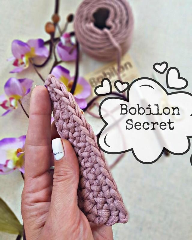 Первый ряд вязания крючком из трикотажной пряжи Бобилон. Красивая косичка