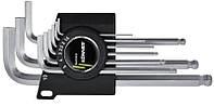 Набор ключей имбусовых с шаром Cr-V 9 шт. (1,5-10 мм) удлиненные