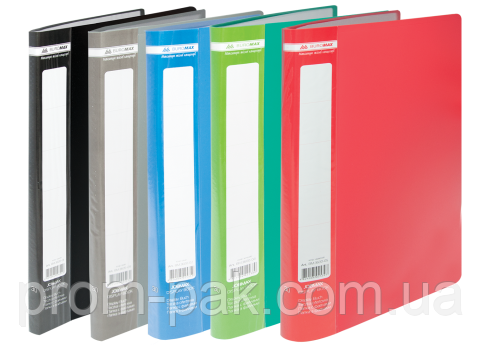 Папка пластиковая c 40 файлами А4 JOBMAX, ассорти