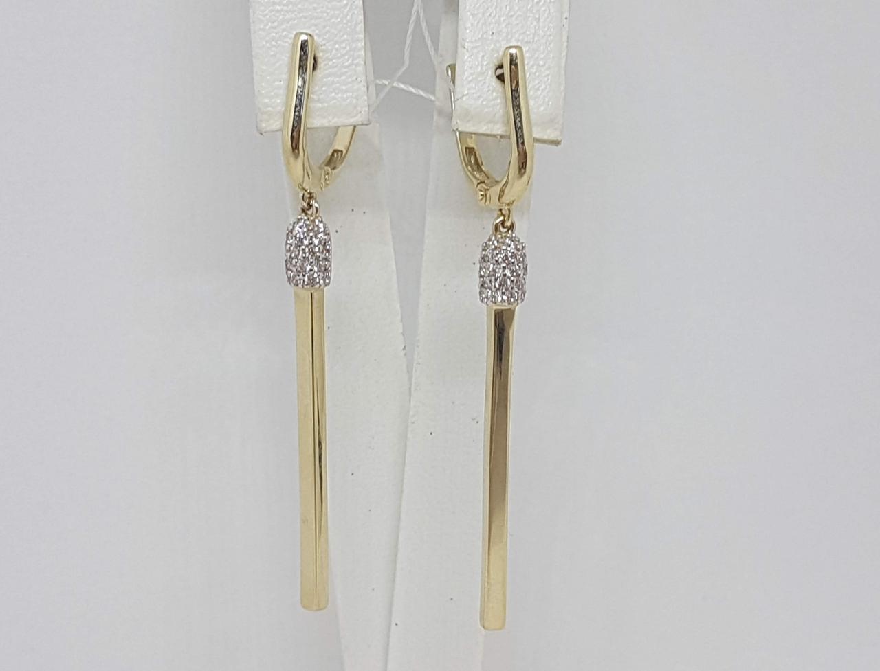 Золотые серьги с фианитами. Артикул СВ1335ЛИ
