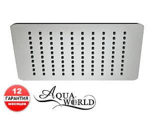 Лейка верхнего душа поворотная 200мм квадрат нержавеющая сталь Aqua-World КСД100-8