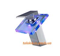 Змішувач кран для раковини умивальника SAVON LED (3 кольори) водоспад