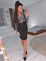 Комплект: Черная юбка карандаш и блузка со змеиным принтом, фото 1