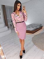 Комплект: Розовая юбка карандаш и блузка в цветочный принт, фото 1