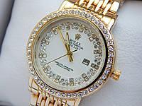Женские кварцевые наручные часы Rolex (Ролекс) золотого цвета, стразы, белый циферблат, CW406