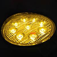 Дополнительные светодиодные противотуманные LED фары (1шт) 10-30V 05-27W SPOT Yellow (желтые) дальнего света 115x115x55 LED-фары