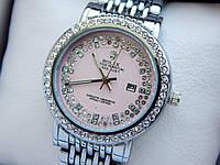 Женские кварцевые наручные часы Rolex (Ролекс) серебряного цвета, стразы, розовый циферблат, CW407