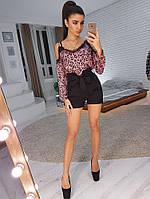 Комплект: Блузка в звериный принт и шорты с завышенной присборенной талией, фото 1