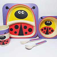 Набор детской эко посуды, бамбуковая посуда
