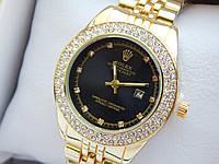 Женские кварцевые наручные часы Rolex (Ролекс) золотого цвета, 2 ряда страз, черный циферблат, CW410