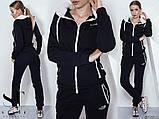 Женский спортивный костюм,трехнить на байке, в капюшоне мех, черный и серый, норма и батал, фото 2