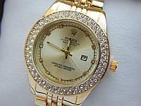 Женские кварцевые наручные часы Rolex (Ролекс) золотого цвета, 2 ряда страз, золотой циферблат, CW411