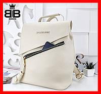 Рюкзак-сумкаженская стильная ,городской стиль,много расцветок,светлый беж 008
