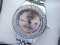 Женские кварцевые наручные часы Rolex (Ролекс) серебряного цвета, 2 ряда страз, розовый циферблат, CW413