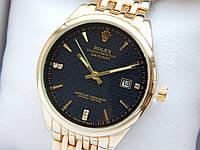 Кварцевые наручные часы Rolex (Ролекс) золотого цвета, дата, черный циферблат, CW414