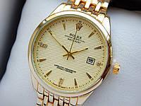 Кварцевые наручные часы Rolex (Ролекс) золотого цвета, дата, золотой циферблат, CW415