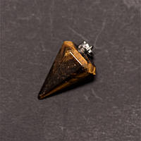 Кулон Маятник из натурального камня Тигровый глаз 14х22х30+-мм