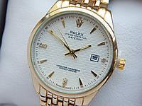 Кварцевые наручные часы Rolex (Ролекс) золотого цвета, дата, белый циферблат, CW416