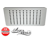 Лейка верхнего душа поворотная 300мм квадрат нержавеющая сталь Aqua-World КСД100-12