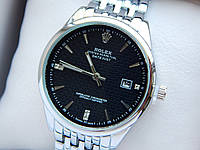 Кварцевые наручные часы Rolex (Ролекс) серебряного цвета, дата, черный циферблат, CW417