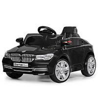Детский электромобиль M 3271 EBLR-2, BMW, колеса EVA, Кожаное сиденье, FM радио, черный