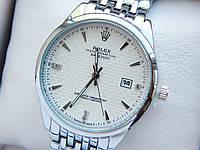 Кварцевые наручные часы Rolex (Ролекс) серебряного цвета, дата, белый циферблат, CW418