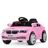 Детский электромобиль M 3271 EBLR-8, BMW, колеса EVA, Кожаное сиденье, FM радио, розовый