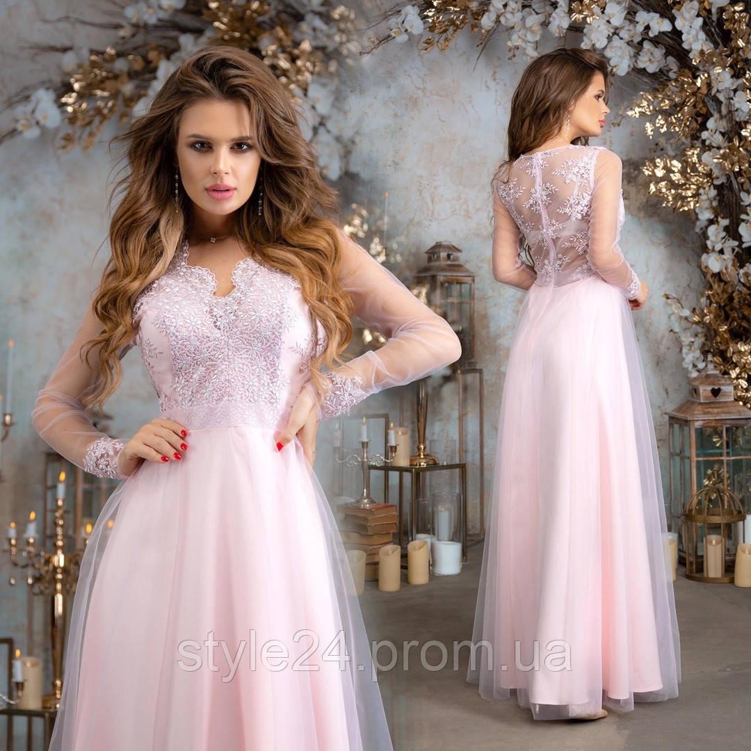 Шикарне довге гіпюрове  плаття з сіткою  Р-ри 42-46