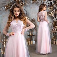 Шикарне довге гіпюрове  плаття з сіткою  Р-ри 42-46, фото 1