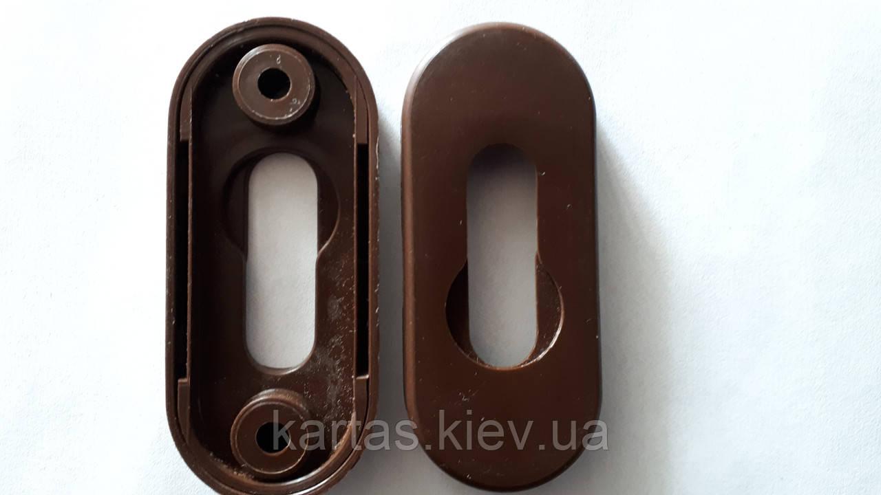 Накладка для замочной сердцевины пластиковая коричневая