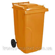 Контейнер для мусора на колесах 240л оранжевый