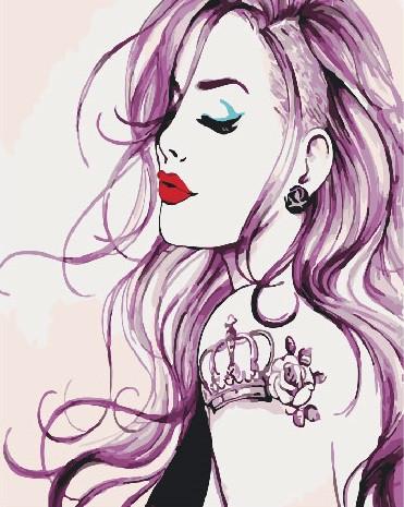 Рисование по номерам Девушка с татуировкой BK-GX28417 Brushme 40 х 50 см (без коробки)
