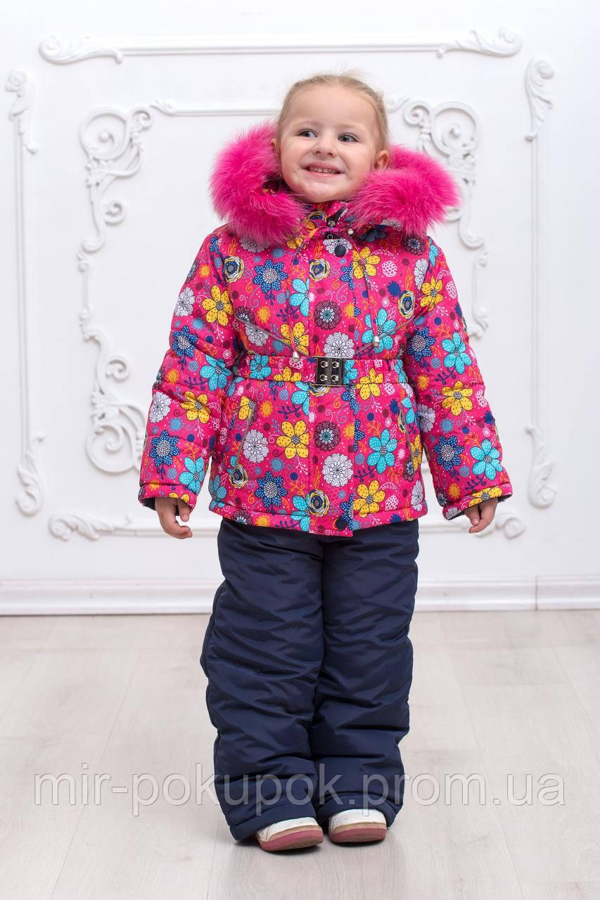 """Зимний раздельный комбинезон для девочек """"Цветочек розовый"""", фото 1"""