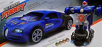 Машинка-трансформер Робот Bugatti интерактивная на батарейках (ездит, свет, звук) трансформация на ходу 23см