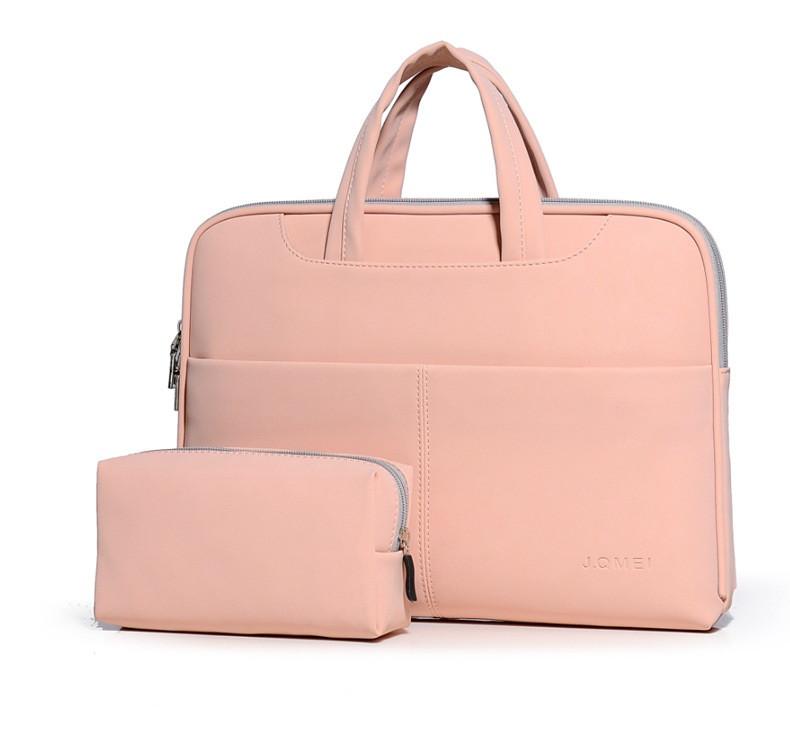"""Женская Сумка для Ноутбука 15"""" и Документов Формата А4 JQMEI (956) Искусственная Кожа Розовая"""