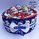 Тортик з цукерок з кіндер сюрпризами. Подарунок на День народження, ювілей, Новий рік, фото 3