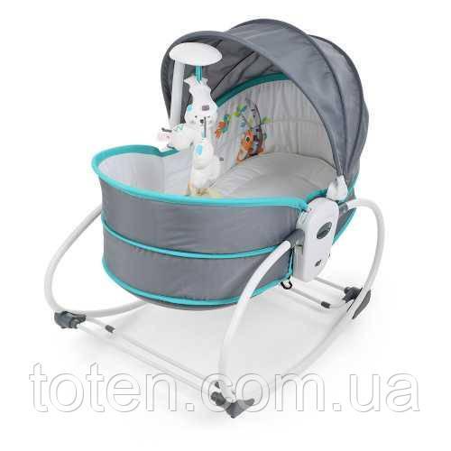 Дитяча люлька-качалка баунсер Bambi 6037, сірий з блакитним