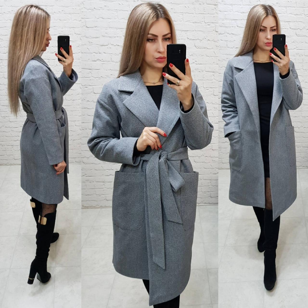 Кашемировое пальто на запах, цвет 02,елочка,  евро-зима, ткань кашемир на трикотаже, арт 175