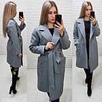 Кашемировое пальто на запах, цвет 02,елочка,  демисезонное,евро-зима, ткань кашемир на трикотаже, арт 175