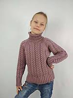 Вязаный свитер с высокой горловиной темная пудра для девочки 34-42 р