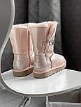 Натуральные женские угги кожаные UGG Australia Bailey Button Pink с пропиткой 36-40р. Живое фото. Люкс реплика, фото 7
