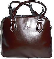 Женская каштановая масляная сумка на 3 отделения 35*26 см
