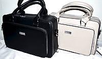 Женские сумки, саквояжи из кожзама на 3 отдела на молнии 30*20 см (черный и серый)