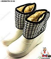 Ботинки женские из пены (липучка белая)